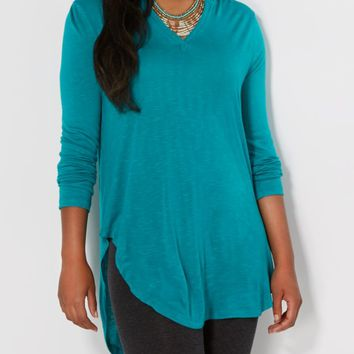 Turquoise Slub Knit Hooded Tunic | Shirts | rue21