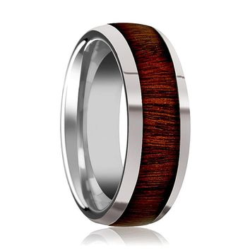Tungsten Wood Ring - Rose Wood Inlay - Tungsten Wedding Band - Polished Finish - 8mm - Tungsten Carbide Wedding Ring