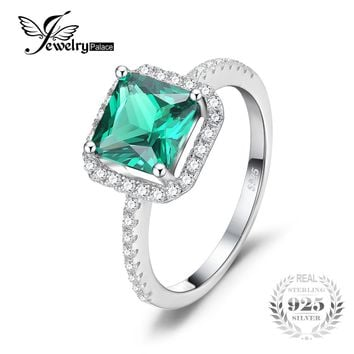 JewelryPalace Square 1.4ct Created Emerald 925 Sterling Silver Ring Engagement Rings For Women Vintage Accessories