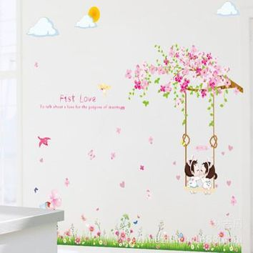 First love flower branches swing sitting room bedroom wall stickers