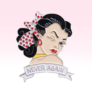 X files 'never again' pin up soft enamel pin brooch