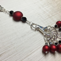 Red Wine Knitting Bag Lanyard & Stitch Markers
