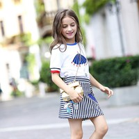2017 Summer Girls Clothing Set Kawaii Embroidery Shirt + Mini Skirts Teens Girl Set Brand Costume For Kids Girls' School Clothes