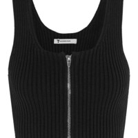 T by Alexander Wang - Cropped ribbed-knit cotton-blend top