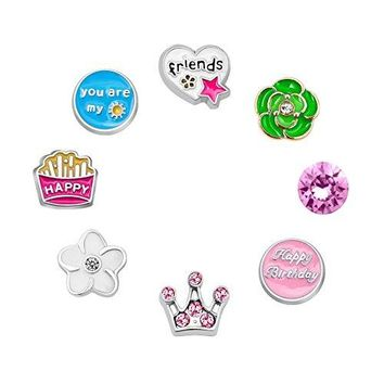 CharmSStory 8 Pcs Friend Happy Birthday Floating Charms For Glass Living Memory Lockets Necklace Bracelet