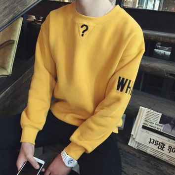 Fall and winter clothes retro color tide men hedging loose sweater female students velvet couple college coat Yellow
