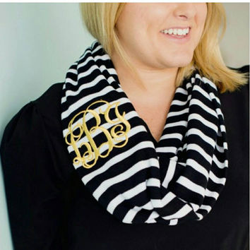 SALE Monogrammed Stripe Scarf in the color of your choice. Great gifts for Christmas.