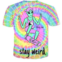 stay weird alien tee