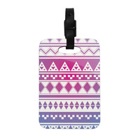 "Belinda Gillies ""Rainbow Aztec"" Purple Blue Decorative Luggage Tag"