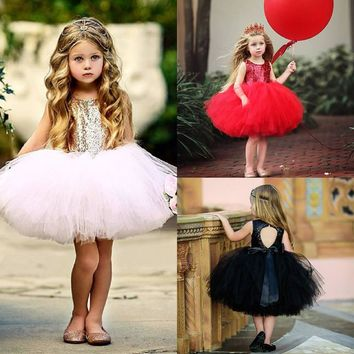 Fashion baby girl dress Toddler Kids Girl Heart Sequins Party Princess Tutu Tulle Dress Outfits Fashion Sleeveless Dresses+