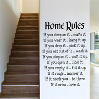 creative quote wall decal 57*87 DIY vinyl home rules for living bedroom kids room warm family new home wedding decoration poster