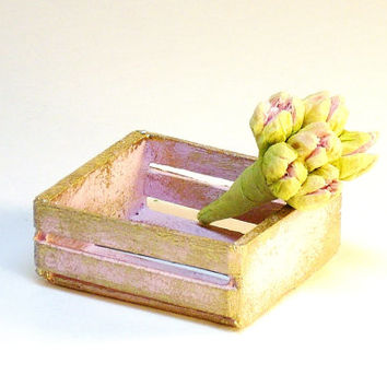 Pink Shabby Miniature Dollhouse Wood Crate with Flowers Fairy Garden Accessories