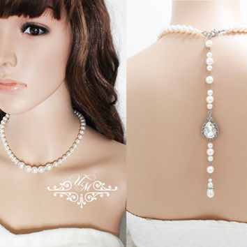 Free Match on BACKDROP Wedding Jewelry Single Strand Swarovski Pearl Necklace Bridal Necklace Rhinestone Teardrop Backdrop Necklace - TECA