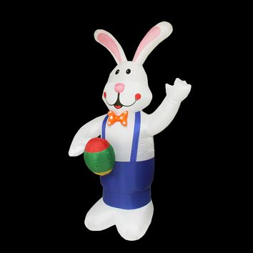 7' Inflatable Lighted Standing Easter Bunny with Eggs Yard Art Decoration