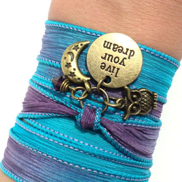 Live Your Dream Silk Wrap Bracelet Yoga Jewelry Moon And Stars Owl Earthy Blue Purple Upper Arm Band Unique Gift For Her Under 30  V46
