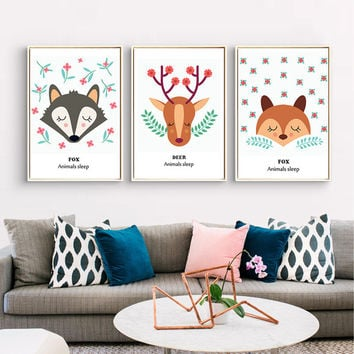 Lovely Fox and deer Nordic kids room Posters and prints Wall art canvas for home decoration No Frame 50x70cm