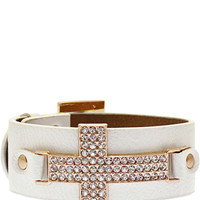 Protect Me Always Cross Bracelet in White – bandbcouture.com