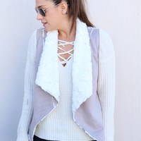 All Fur You Vest - Gray/Taupe