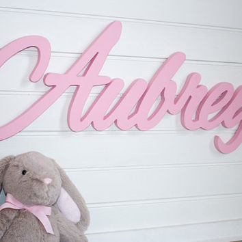 Wooden Name Sign Baby Plaque Large Painted Personalized Nursery Wall Ha