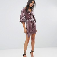 Lioness Velvet Off Shoulder Mini Dress With Ruched Sleeve Detail at asos.com