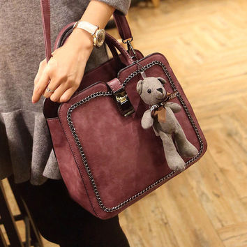 Ladies Chain Leather Crossbody Shoulder Handbag Bear Gift