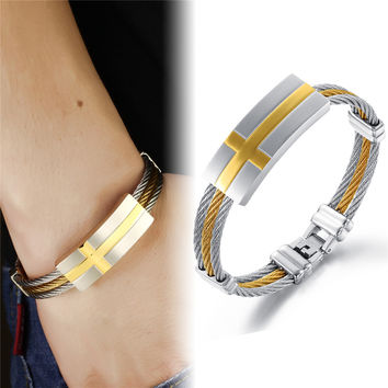 TOP Sale Gold Silver Tone 3- Row Twisted Cable Rope Wire Chain 316L Stainless Steel Women Men's New Cross ID Bangle Bracelet New