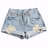 Cuffed Ripped Washed Denim Shorts