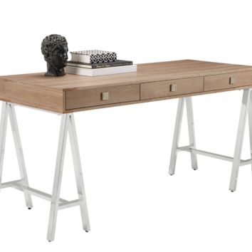 EMBRACE DISTRESSED OAK VENEER IN DRIFTWOOD FINISH TRESTLE STYLE STAINLESS STEEL BASE DESK
