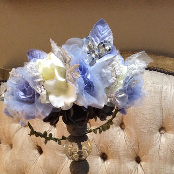 Flower halo-hair-hair accesorie-flower girl-bridal-AZUL