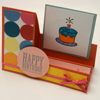 Coral Cake Time Birthday Stair Step Greeting Card