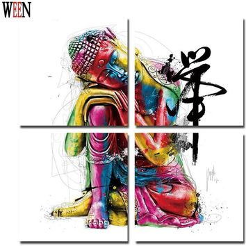 Buddha Canvas Painting Framed Zen Wall Picture 4Pcs
