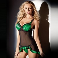 Cute Hot Deal On Sale Sexy Green Cup Transparent Lace Plus Size Dress Pants Exotic Lingerie [6596493059]