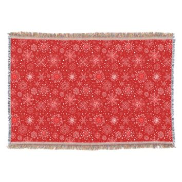 KRW Lacy White Snowflakes on Christmas Red Blanket Throw