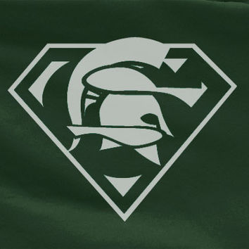 Forest Green Custom Michigan State University MSU Spartans Superteam Superman Tee Tshirt T-Shirt Batman