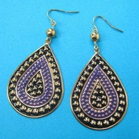 SALE - Teardrop Shaped Purple and Gold Textured Dangle Earrings