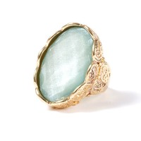 Faux Quartz with Etched Metal Statement Ring  | Icing