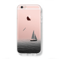Sailing Boat Seagull iPhone 6s Clear Case iPhone 6 Cover iPhone 5S 5 5C Hard Transparent Case C024