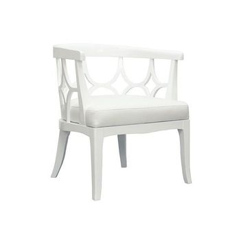 Campbell Barrel Back Lacquer Chair  | White