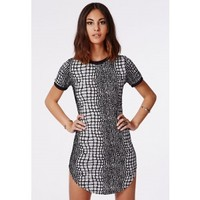 Missguided - Codi Snake Scales Shift Dress Grey