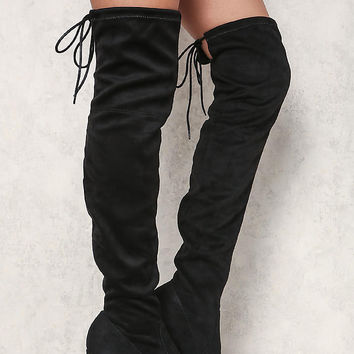 Black Suedette Thigh High Boots