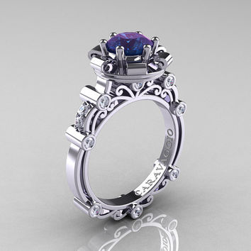 Caravaggio 14K White Gold 2.0 Ct Alexandrite Diamond Engagement Ring R631-14KWGDAL