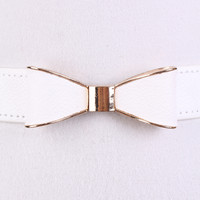 White Faux Leather Bow Accent Cute Belt