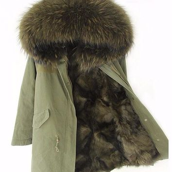 Genuine Fox Fur Lined Parka with Raccoon Fur Trim