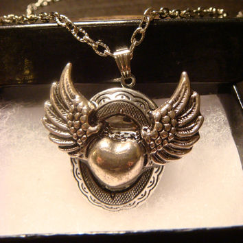 Heart with Wings Steampunk Locket Necklace (1170)