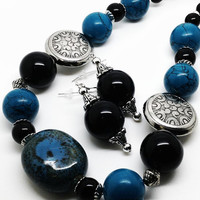 Aztec Inspired Beaded Jewelry Set, Blue Magnesite and Black Onyx Necklace and Earrings Set, Chunky Necklaces, Statement Necklaces