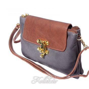 Italian Gray Genuine Leather Clutch with Golden Closure