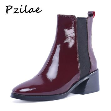 Pzilae new chunky heels fashion boots round toe elastic band ankle boots women shoes PU leather Chelsea boots plus size 30-48