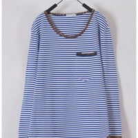 Women Euro Style Long Sleeve Scoop Stripe Pocket Panther Print Side Line Blue Cotton T-shirt M/L @WH0179bl $11.69 only in eFexcity.com.