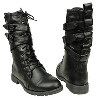 Womens Mid Calf Boots Cross Strap Buckles Combat Casual Comfort Shoes Black SZ 5
