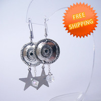 Metal star and disc earrings FREE SHIPPING Girlfriend gift Gift for her Dangle earrings Romantic gift